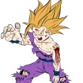 Dragon Ball Z - Gohan adolescent super sayan 2 - Couleur + sang